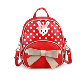 Discount girls bunny backpacks - Kids Girls Mini Backpack Casual Small Cute Bunny Bowknot Decor Children Travel Backpack Dot Shoulder Messenge Leather Sc