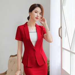 Ladies Work Uniforms Australia - Women Blazer Office Lady Elegant Short Sleeve Suit Set Ruffles Split Career Business Beauty Uniform (Jacket + Skirt) Red   Black