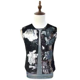 Wholesale rock stars clothes for sale – custom men vest Flip Sequin clothing personality slim male sleeveless vests men punk rock costumes singer dance stage star fashion