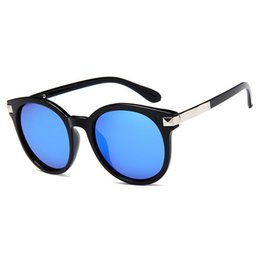 Mercury Reflective Sunglasses UK - Female Colorful Reflective Sun Glasses Korean Style Sunglasses Mercury Eyewear Brand Design Oval Lens Cat Frame Glasses UV400
