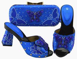 $enCountryForm.capitalKeyWord NZ - Fashion royal blue women pumps and bag set with butterfly crystal decoration african shoes match handbag JZS-05