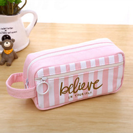wholesale large pens Australia - New Cosmetic Bags Canvas Pencil Case Large Capacity Pen Box Stationery Pouch Makeup Brand New Cosmetic Bag