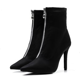f53ee4c883f59 New Autumn Women High Heels Boots Europe Pointed Toe Thin Heels Ankle Boots  Fashion Front Zip Sexy Socks Party Pumps Boots