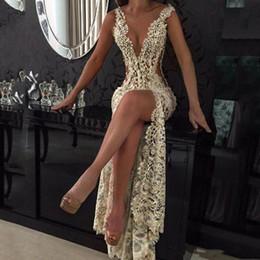 Spitze tiefe V-Ausschnitt Abendkleider Sparkly Perlen Sheer Backless Mermaid Prom Dresses Durchsichtig Sweep Train Party Vestidos Custom Made im Angebot