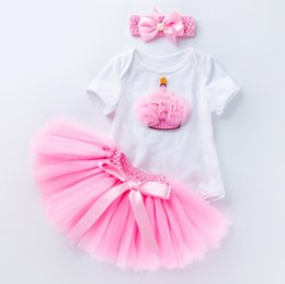 d1939de5e5f8 Baby 6 month 1 year birthday dress up infant babies tutus skirts+rompers  suit with headband 3pcs clothing set for toddler gifts