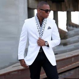 Beige Slim Suits For Men Australia - White One Button Slim Fit Men't Jacket Shawl Lapel Suit Separates Tuxedos Custom Made Best Man Blazer for Wedding