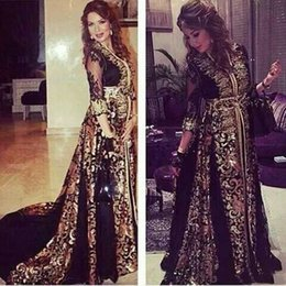 Gold Lace Peplum Dress Australia - Arabic Kaftan Black Gold Chiffon Evening Dresses Illusion 3 4 Long Sleeves Middle East Vestidos De Festa V neck Muslim Lace Prom Dresses