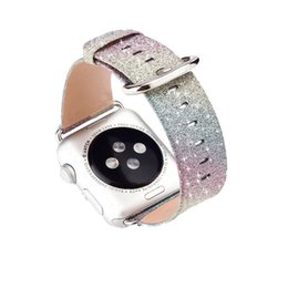 Apple Needle Australia - Leopard Rainbow Bling Glitter Leather Band For Apple Watch Series 1 2 3 Strap 42mm 38mm Bracelet For Iwatch Wristband T190620