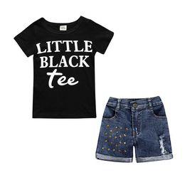 $enCountryForm.capitalKeyWord Australia - Kids Set Clothing New Fashion Black Tshirts + Denim Shorts Sets Girls Baby Letter Printed Clothes Children Summer Outfits 2 pcs Suits