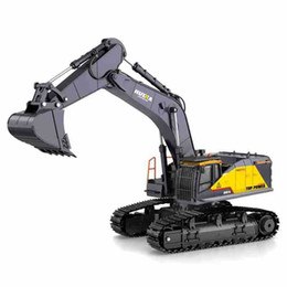 scale units UK - HN592 22 Channels RC Excavator& Digger Toy, Diecast Alloy Model,1:14 Scale Big Size,680° Rotation, Sound& Lights, for Xmas Kid Birthday Gift