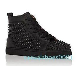 margiela high top sneaker UK - Wholesale Fashion black glitter Men Brand Designer Red Bottoms Shoes High Top Genuine Leather Casual Flat Margiela Sneakers AC01