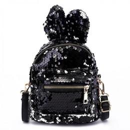 ad04ba1f56 Mini sequin Backpacks For Girls Women Rabbit Ears Rucksack Cartoon Label  Purse Zipper Shoulder Small Bag MMA1342 30pcs