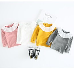 Yellow Shirt Girl NZ - spring autumn girls t shirts kids solid long sleeve cotton t-shirt baby white gray yellow pink all match clothes children 1-6T