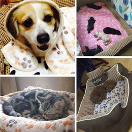 paw beds Canada - Pets Bed Mat Soft Warm Fleece Paw Print Pet Puppy Dog Cat Blanket Bed Mat Sofa Pet Warm Product Cushion Cover Towel#