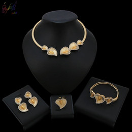 Wedding Gold Crystals Australia - Warm Heart Crystal Design New Arrival Alloy Gold Color Jewelry Set For Women Wedding Jewellery Big Occasion