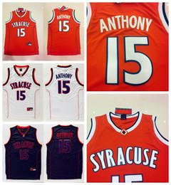 Сиракузы # 15 Carmelo Anthony Jerseys Оранжевый Черный Белый Кармело Энтони Трикотажные изделия для баскетбола Сшитые рубашки колледжа NCAA на Распродаже