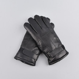 Men Gloves Leather Sheepskin Australia - men winter Outdoor warm fur thickening thermal patchworkMen sheepskin gloves genuine leather glove gloves