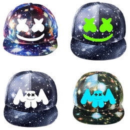 Hats games online shopping - 24 colors DJ Marshmello Hat Game Around The Starry Hat Flat Cap Korean Version Canvas Baseball Cap Adjustable MMA2406
