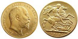 $enCountryForm.capitalKeyWord Australia - UK Rare 1910 British coin King Edward VII 1 Sovereign Matt 24-K Gold Plated Copy Coins Free Shipping