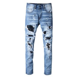 designer light fittings Australia - High Street Fashion Men Oiled Robin Jeans Blue Color Slim Fit Destroyed Ripped Jeans Men Broken Pants Paint Designer Patchwork Hip Hop Jeans