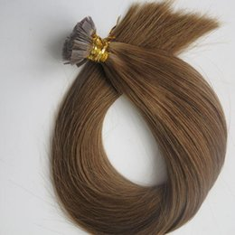 keratin bonded indian hair extensions Canada - 200g 1set =200strands Pre Bonded Flat Tip Hair Extensions 18 20 22 24inch #6  Medium Brown Brazilian Indian Remy Keratin Human Hair