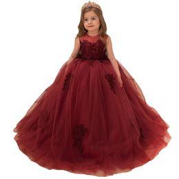 Images Formal Dresses For Girls UK - Burgundy Ball Gown Tulle Flower Girls Dresses Jewel Neck Sleeveless Lace Appliqued Corset Back Kids Formal Wear For Weddings