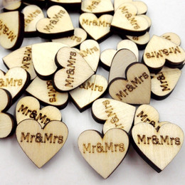 Wood Heart Decoration Australia - 50pcs pack Rustic DIY Wooden Love Heart Mr & Mrs Just Married Wedding Table Scatter Decoration Wood Alphabet Letter Pre-School Crafts