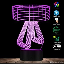 night lamp designs Australia - 3D Effect Creative Table Lamp Shape Designed Lamp Home Decor 3D Optical Illusion Atmosphere Light Bedroom Night Lamp Mood Light