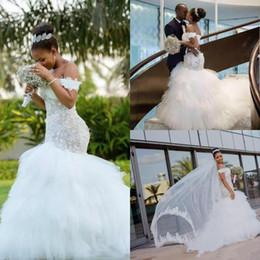 $enCountryForm.capitalKeyWord Australia - 2019 African Mermaid Wedding Dresses Off The Shoulder Lace Appliques Ruffles Plus Size Bridal Gowns Beach Country Vestido De Novia