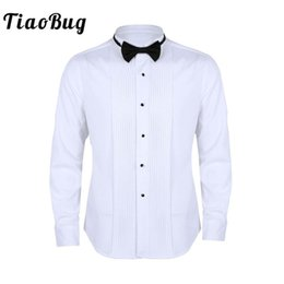 long white fit flare dress NZ - TiaoBug Men Long Sleeve Slim Fit Solid Color Casual Tuxedo Dress Shirts with Bow Tie White Business Formal Wedding Party