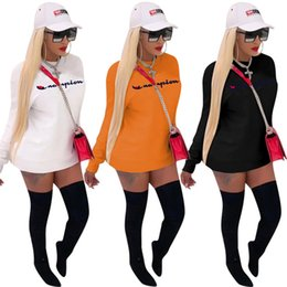 T Shirt Dress Winter Australia - Women Champions Hoodie Dress Brand Long t-shirts Hoodies Dresses Autumn Fall winter Skirt Pullover Sweatshirts tops tee sweater new
