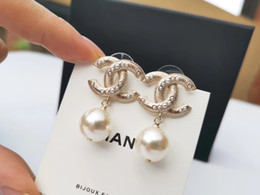 Wholesale Luxury quality drop earring with pearl and logo for women wedding Earrings Fashion jewlery drop shipping PS5618