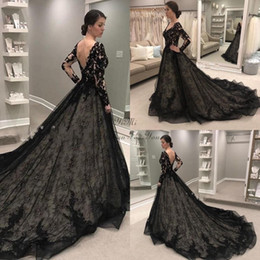 Wholesale black white gothic dress online – ideas Modest Black Full Lace A Line Gothic Wedding Dresses Long Sleeve V Neck Backless Nude Lining Garden Country Chapel Train Bridal Gowns