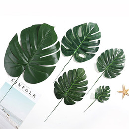 Chinese  Cheap Plastic Flowers Artificial fake Monstera palm Leaves green plants wedding DIY decoration arrangement plant leaf 4 Size manufacturers
