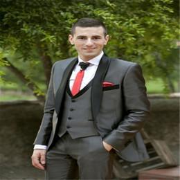 Shiny Beige Suit Australia - Latest Coat Pant Designs Grey Satin Men Suit Formal Slim Fit Shiny Tuxedo Prom Party Marriage Jackets Men Prom 3 Piece 2019