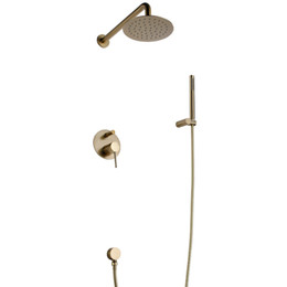 Wholesale Brushed Gold Solid Brass Bathroom Shower Set Rianfall Head Shower Faucet Wall Mounted Shower Set