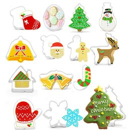$enCountryForm.capitalKeyWord Australia - Christmas Cookie Cutter Stainless Steel Cut Candy Biscuit Mold Cooking Tools Snowflake Snowman Santa Christmas Party Supplies 14pcs YW1818