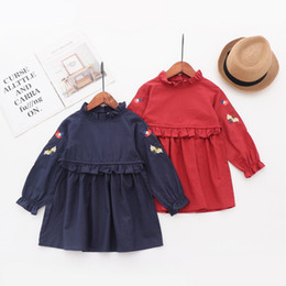 Wholesale kids clothes stands resale online - girl clothing new girls Kids long sleeve Stand collar Emboridery flower dress causal cotton Exquisite girls dresses