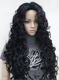 jet black curly wigs UK - WIG LL<<< 00792 hot fashion sexy charming jet black long curly woman's full thick wig
