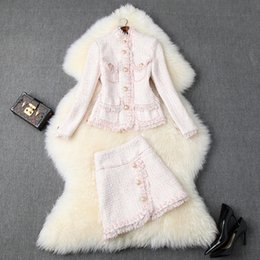 Wholesale tweed skirts for sale - Group buy 2019 Fall Autumn Pink Long Sleeve Crew Neck Tweed Pockets Top Jacket Tassel Buttons Mini Short Skirt Two Piece Pieces Set O2210292