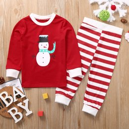boys matching christmas outfits Australia - Christmas Outfit Toddler Boy Clothes Cotton Snowman Printed Top+Pants Xmas Family Matching Pajamas Set Kids Winter Clothes