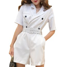 $enCountryForm.capitalKeyWord NZ - Casual Summer Striped Jumpsuits For Women Rompers Notched Double Breasted Playsuits Short Sleeve Short Overalls