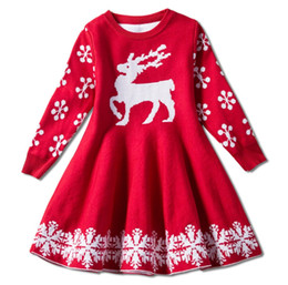 Dress baby party color reD online shopping - Red color baby girls chritmas skirts deer knitting children girl holidays warm dress kids party skirts