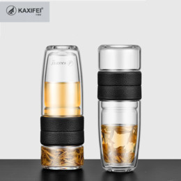 Bottiglia d'acqua di vetro 500ML 304 acciaio inossidabile + vetro per le donne Breve bottiglia a doppia parete elegante della breve durata con il filtro dal tè in Offerta
