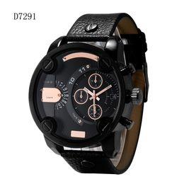 Big Case Wrist Watches Australia - cool big case quartz men watches leather strap auto date army military relogio masculino analog men's wrist watch 7291 4283 7256 7258 gifts