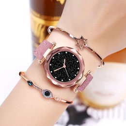starry sky clock 2019 - Exquisite Luxury Women Watches Fashion Dress Ladies Watch elegant Starry Sky Dial Leather Strap Quartz Wristwatch Clock