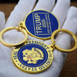$enCountryForm.capitalKeyWord Australia - New Gold Commemorative Coin Donald Trump US President 2020 Oath Collection Arts Souvenir Key Ring KeyChain Holder Pendant 2 styles T265