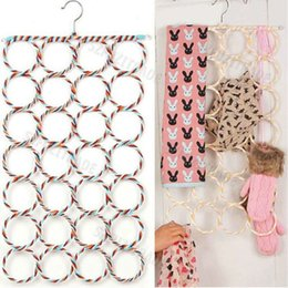 Clothes Hanger Rope Australia - New 9 12 16 28 Ring Rope Shawl Multi Display Scarf Belt Tie Slots Holder Organizer Clothes Hangers Organizer Hole