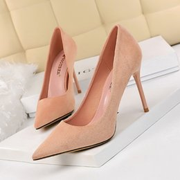 thin simple wedding dresses UK - Fashion High Heeled Shoes Pumps Women Shoes Simple 9cm Fine Heel Suede Shallow Sexy Pointed Toe Thin Single Shoes Wedding Pupms