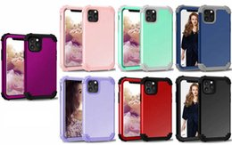 iphone plastic front case UK - Armor Shockproof Hybrid Hard Plastic Iphone 11 XI XR XS MAX XR X 8 7 Plus 6 Case 3in1 Front+Back Soft TPU Dual Security Cover Phone Skin